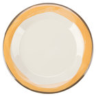 GET WP-7-DI-KNY Kanello 7 1/2 inch Round Diamond Ivory Wide Rim Melamine Plate with Kanello Yellow Edge - 48/Case
