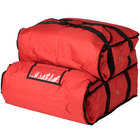 ServIt Soft-Sided Heavy-Duty Insulated Pizza Delivery Bag, Red Nylon - Dual Compartment, 20 inch x 20 inch x 14 inch