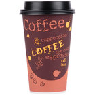 Choice 16 oz. Coffee Print Poly Paper Hot Cup and Lid - 100/Pack