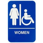 ADA Women's Restroom Sign with Braille - Blue and White, 9 inch x 6 inch