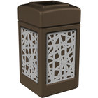 Commercial Zone 734262 42 Gallon Brown Square Trash Receptacle with Stainless Steel Intermingle Panels