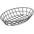 Clipper Mill by GET 4-30188 12 inch x 8 1/4 inch Black Iron Powder Coated Oval Grid Basket