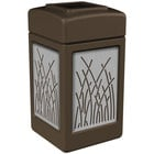 Commercial Zone 734162 42 Gallon Brown Square Trash Receptacle with Stainless Steel Reed Panels