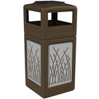Commercial Zone 733016299 42 Gallon Brown Square Trash Receptacle with Stainless Steel Reed Panels and Ashtray Lid