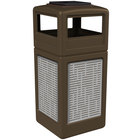Commercial Zone 733006299 Precision Series 42 Gallon Brown Square Trash Receptacle with Stainless Steel Horizontal Line Panels and Ashtray Lid