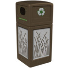 Commercial Zone 746116299 42 Gallon Brown Square Recycling Receptacle with Stainless Steel Reed Panels