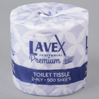 Lavex Janitorial 4 1/2 inch x 3 1/2 inch Premium Individually-Wrapped 2-Ply Standard 500 Sheet Toilet Paper Roll   - 48/Case