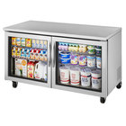 True TUC-60G-HC~FGD01 60 inch Undercounter Refrigerator with Glass Doors