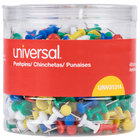 Universal UNV31314 3/8 inch Plastic Push Pin in Assorted Rainbow Colors - 400/Pack