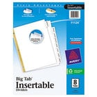 Avery 11124 Big Tab White Paper 8-Tab Clear Insertable Dividers