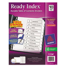 Avery 11134 Ready Index 10-Tab White Table of Contents Dividers