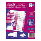 Avery 11169 Ready Index 10-Tab Multi-Color Table of Contents Divider Set - 24/Box