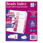 Avery 11167 Ready Index 5-Tab Multi-Color Table of Contents Divider Set - 24/Box
