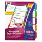 Avery 11840 Ready Index 5-Tab Multi-Color Customizable Table of Contents Dividers