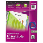 Avery 11903 Big Tab 8-Tab Insertable Multi-Color Plastic Dividers with Folder Pockets