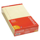 Universal UNV40000 Legal Rule Canary Perforated Edge Writing Pad, Legal - 12/Pack