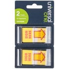 Universal UNV99005 1 inch x 1 3/4 inch Yellow / Red Sign Here Arrow Page Flag with Dispenser   - 2/Pack