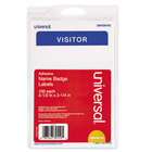 Universal UNV39110 2 1/4 inch x 3 1/2 inch White Visitor Write-On Self-Adhesive Name Badge with Blue Border - 100/Pack