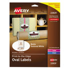 """Avery 22829 2"""" x 3 1/3"""" White Matte Textured Print-to-the-Edge Easy Peel Oval Labels - 80/Pack"""