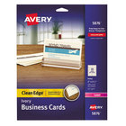 "Avery 5876 2"" x 3 1/2"" Uncoated Ivory Clean Edge Business Cards - 200/Pack"