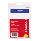 Universal UNV39105 2 1/4 inch x 3 1/2 inch White Hello Write-On Self-Adhesive Name Badge with Blue Border - 100/Pack