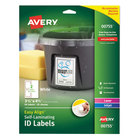 "Avery 00755 Easy Align 3 1/2"" x 4 1/2"" White Rectangular Printable Self-Laminating ID Labels - 50/Pack"