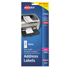 """Avery 2160 1"""" x 2 5/8"""" Mini-Sheets White Printable Address Labels - 200/Pack"""