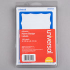 Universal UNV39120 2 1/4 inch x 3 1/2 inch White Border-Style Write-On Self-Adhesive Name Badge with Blue Border - 100/Pack