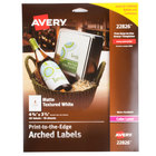 """Avery AVE22826 3 1/2"""" x 4 3/4"""" White Textured Matte Water-Resistant Arched Labels - 40/Pack"""
