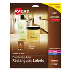 "Avery 22822 Easy Peel 2"" x 3"" Clear Glossy Rectangular Print-to-the-Edge Labels - 80/Pack"