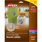 """Avery 22808 2 1/2"""" Kraft Brown Round Print-to-the-Edge Labels - 225/Pack"""