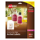 """Avery 22809 2 1/4"""" x 3"""" White Textured Matte Water-Resistant Arched Labels - 90/Pack"""