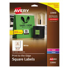 "Avery 22806 Easy Peel 2"" x 2"" White Square Print-to-the-Edge Labels - 300/Pack"