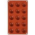 Matfer Bourgeat 257901 Gastroflex Silicone 15 Compartment Mini Half Sphere Mold