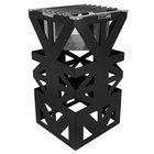 Eastern Tabletop 1743MB LeXus 8 inch x 8 inch x 15 inch Black Steel Cube with Fuel Shelf and Grate