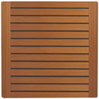 Grosfillex 99525008 X1 24 inch Square Teak Outdoor Molded Melamine Table Top