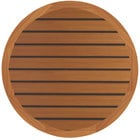 Grosfillex 99832008 30 inch Round Teak Outdoor Molded Melamine Table Top