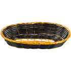 9 inch x 4 1/2 inch x 1 3/4 inch Oblong Black and Gold Rattan Cracker Basket - 12/Case
