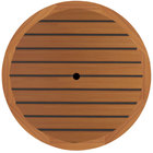 Grosfillex 99881108 42 inch Round Teak Outdoor Molded Melamine Table Top with Umbrella Hole