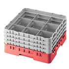 Cambro 9S1114163 Red Camrack Customizable 9 Compartment 11 3/4 inch Glass Rack