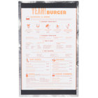 8 1/2 inch x 14 inch Menu Solutions ALSIN814-ST Alumitique Single Panel Swirl Finish Aluminum Menu Board with Top and Bottom Strips