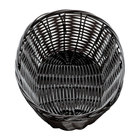 Tablecraft 2474 9 inch x 6 inch x 2 1/4 inch Black Oval Rattan Basket   - 12/Pack