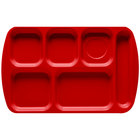 GET TR-151 Red Melamine 10 inch x 15 1/2 inch Right Hand 6 Compartment Tray - 12/Pack