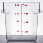 8 Qt. Clear Square Polycarbonate Food Storage Container with Red Gradations
