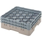 Cambro 16S534184 Camrack 6 1/8 inch High Customizable Beige 16 Compartment Glass Rack