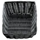 Tablecraft 2472 Black Rectangular Rattan Basket 9 inch x 6 inch x 2 1/2 inch 12 / Pack