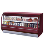 Turbo Air TCDD-96L-R-N 96 inch Red Low Profile Curved Glass Refrigerated Deli Case