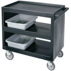 Cambro BC2354S Black Three Shelf Service Cart - 37 1/4 inch x 21 1/2 inch x 34 5/4 inch