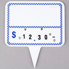 Write On Deli Sign Spear Wheel with Insert - Blue Checkered - 25/Pack