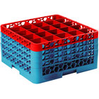 Carlisle RG25-4C410 OptiClean 25 Compartment Red Color-Coded Glass Rack with 4 Extenders
